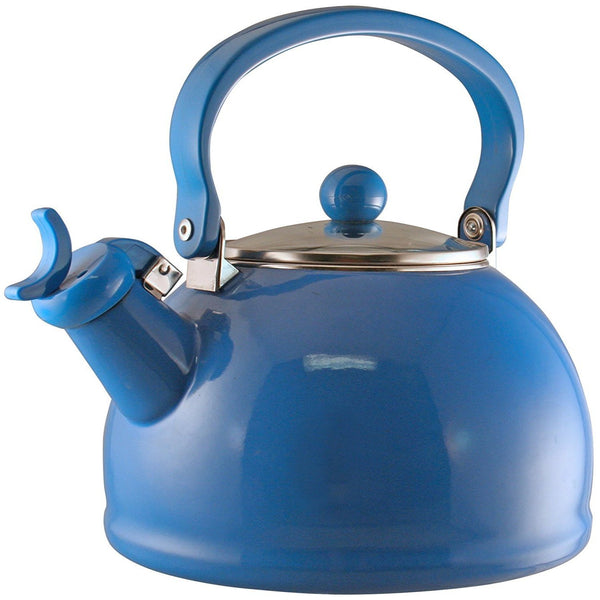 Calypso Basics Harmonic Hum Whistling Teakettle with Glass Lid, 2.2-Quart, Azure