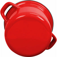 Calypso Basics Enamel on Steel Stockpot with Glass Lid, 8-Quart, Red