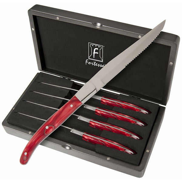 Fortessa Provencal 4-Piece Serrated Steak Knife Set with Box, 9.25-Inch, Red Handle
