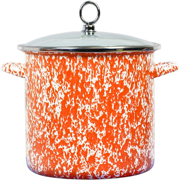 Calypso Basics Enamel on Steel Stockpot with Glass Lid, 8-Quart, Orange Marble