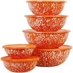 Calypso Basics 12-Piece Enamel on Steel Bowl Set with Airtight Lids, Orange Marble