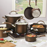 Circulon Symmetry Hard-Anodized Nonstick 11-Piece Cookware Set, Chocolate