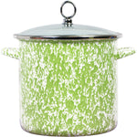 Calypso Basics Enamel on Steel Stockpot with Glass Lid, 8-Quart, Lime Marble