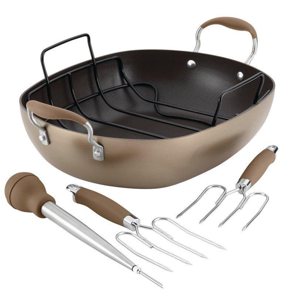 "ANOLON 16"" X 13"" Oval Roaster Set, Bronze"