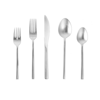 Fortessa Arezzo 18/10 Stainless Steel Flatware, 20 Piece Place Setting, Service for 4, Brushed Stainless Steel