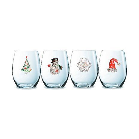 CorkPops 52210 Holiday Collection, 3 Christmas Tree, 3 Snowman, 3 Snowflake, 3 Christmas Hat, stemless