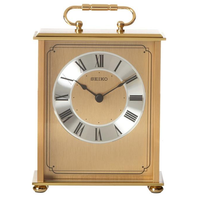 Seiko QHG102GL Desk and Table Carriage Clock Gold-Tone Solid Brass Base and Top