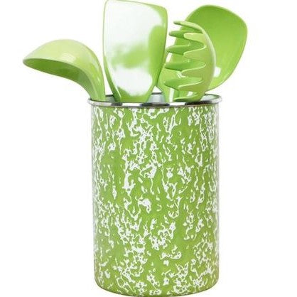 Calypso Basics Enamel on Steel Utensil Holder and 5 Piece Utensil Set (Lime Marble)
