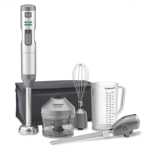 Cuisinart CSB-300 Smart Stick Variable Speed Cordless Rechargeable Hand Blender with Electric Knife, Stainless Steel
