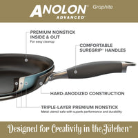 "ANOLON 14"" Skillet With Helper Handle, Gray"
