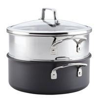 ANOLON 5-QT. Covered Dutch Oven With Steamer Insert, Gray