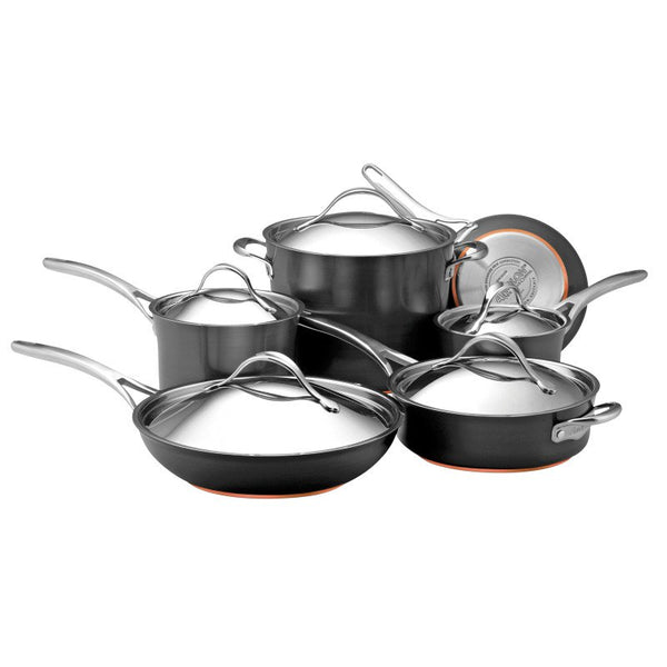 ANOLON 11-Piece Cookware Set, Dark Gray