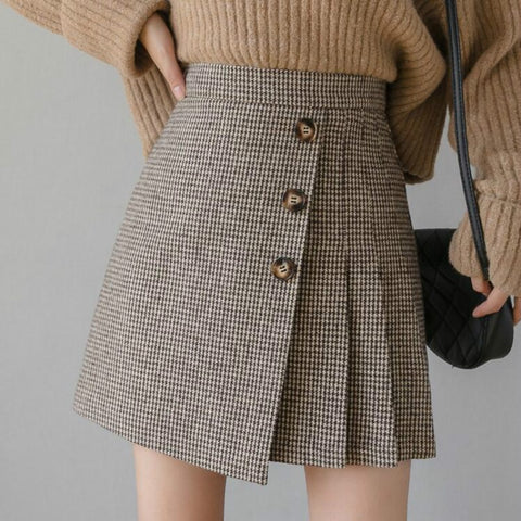 Preppy Style Plaid High Mini Skirt