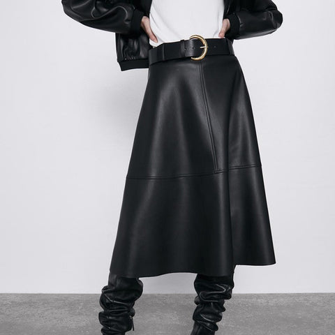 Neophil Vintage Women Leather Midi Skirts