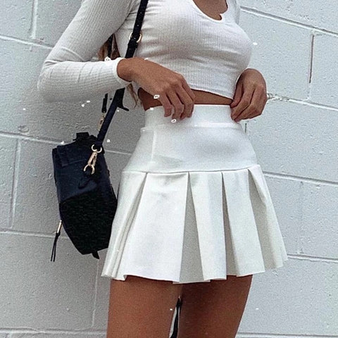 2020 New Elastic High Waist Pleated Skirt