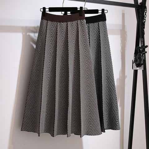 Luxury Jacquard Knit Women Pleated Skirt