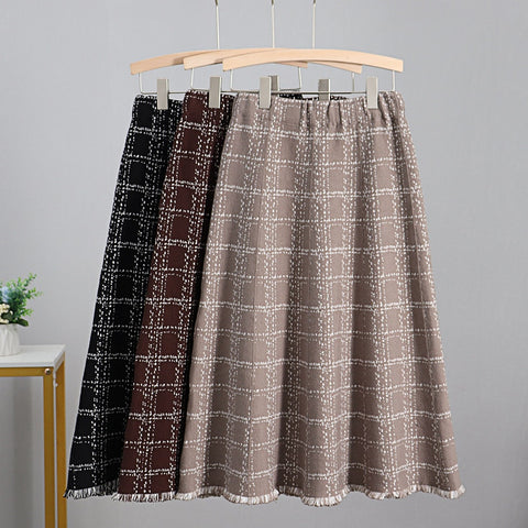 Luxury Jacquard Knitted Women Midi Skirt