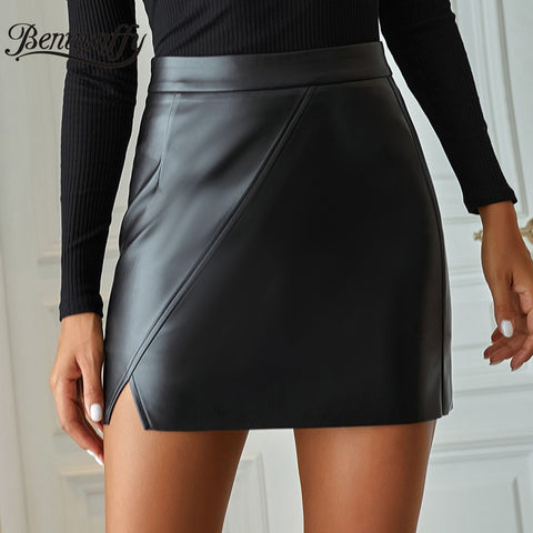 Black PU Leather Womens Skirts