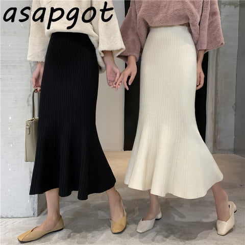 Asapgot Fall Winter Slim High Skirts
