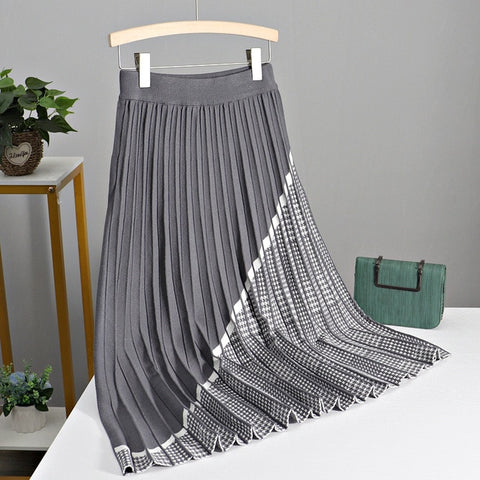 Luxury Houndstooth Long Knit Skirt