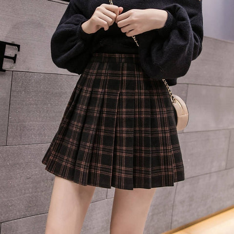 Pleated faux Woollen Skirt