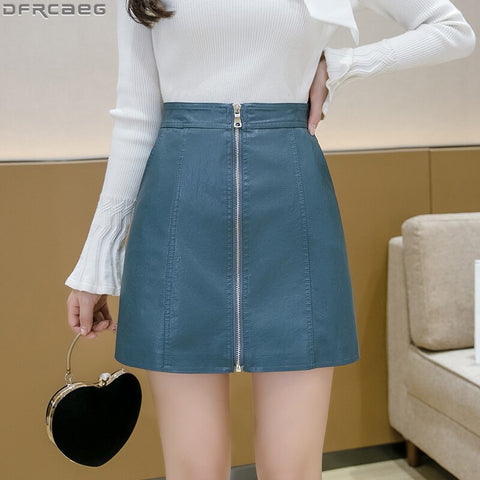 Fashion Streetwear Winter PU Leather Skirt