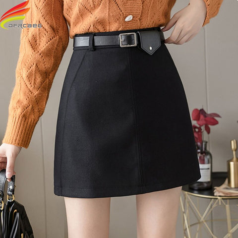 Autumn Winter Women Woolen Skirt
