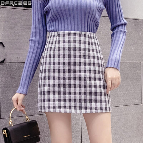 2020 Autumn Winter High Waist Plaid Woman Skirts