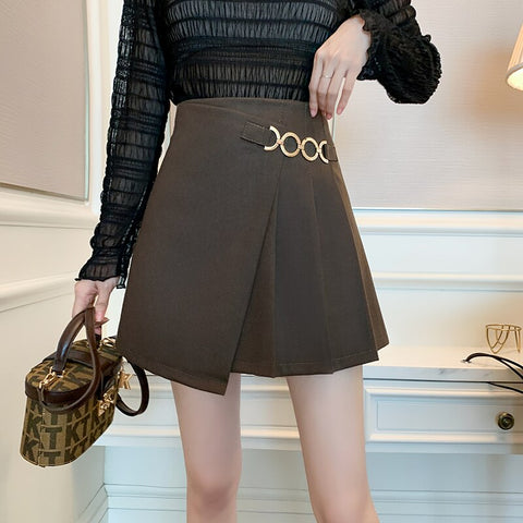 Winter Woolen Pleated Skirt French