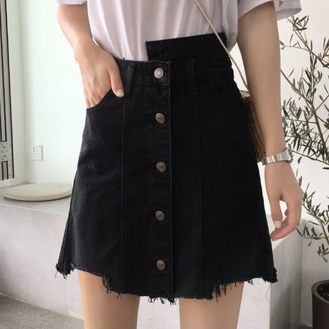 Black Casual High Waist Skirts