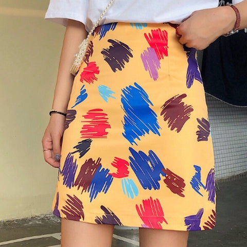 Casual Korean Graffiti Print Skirt