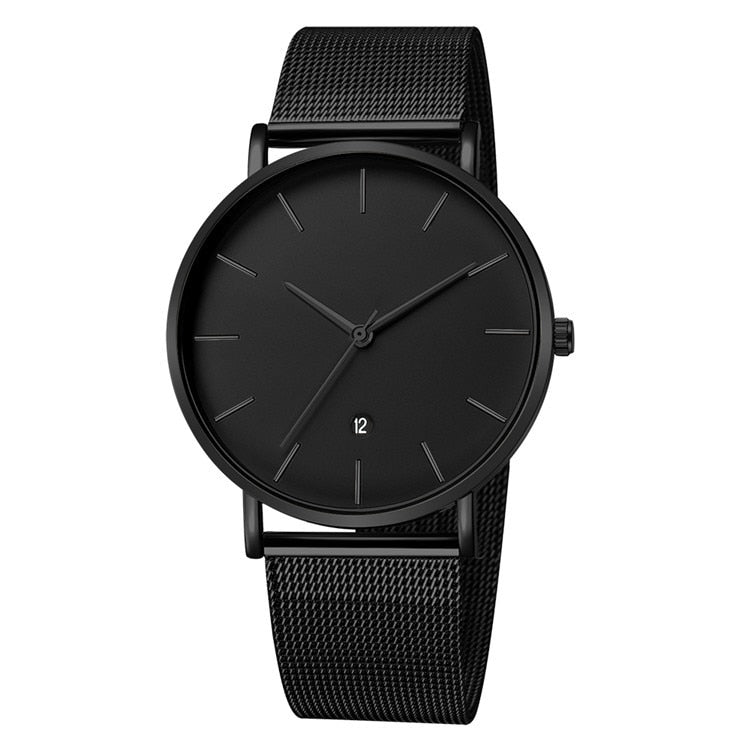 Sleek all black non chronograph mens luxury watch