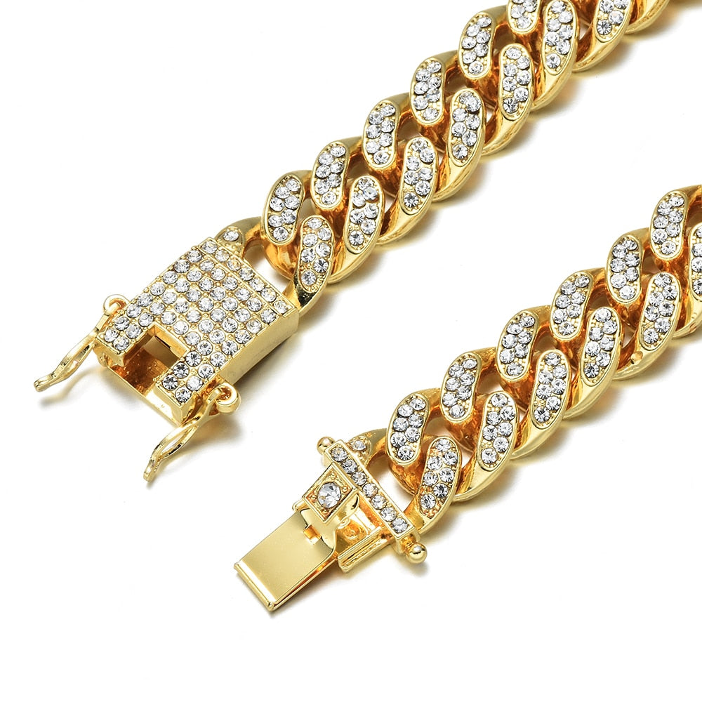 Luxury mens jewel encrusted gold bracelet