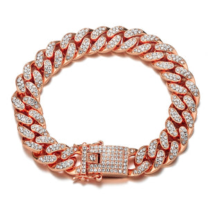 Luxury mens jewel encrusted rose gold bracelet
