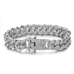 Luxury mens jewel encrusted silver bracelet