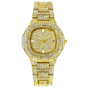 Luxury mens jewel encrusted golden watch