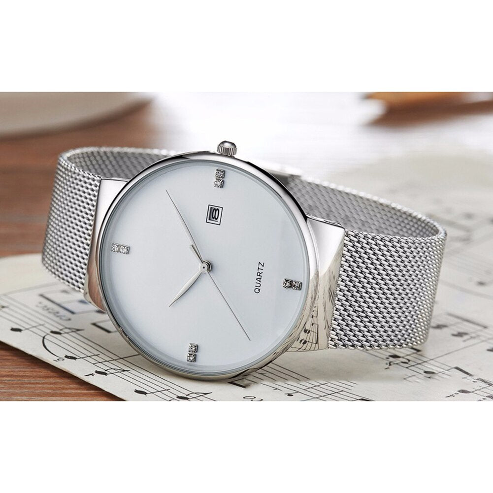 Luxury mens classic silver watch