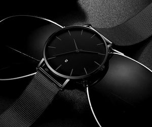 Sleek all black non chronograph mens watch