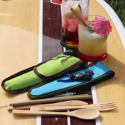 ECO-FRIENDLY BAMBOO CUTLERY SET with Nylon Carrying Case