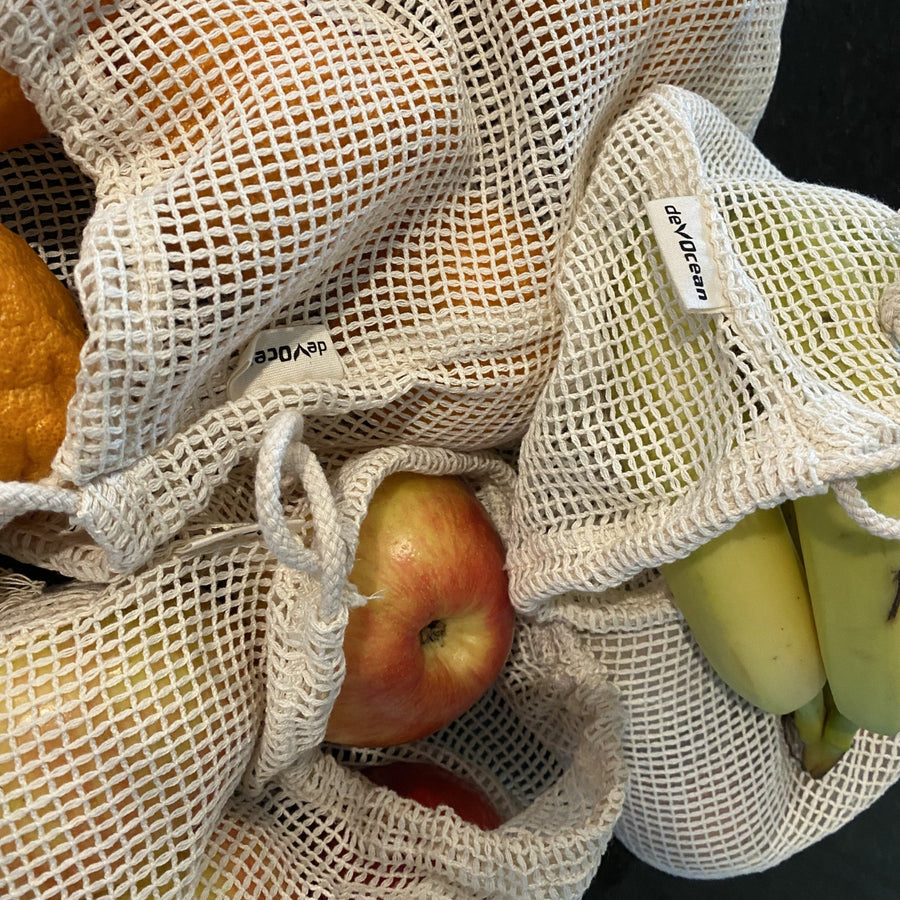 3 Pack Cotton Mesh Reusable Produce Bags