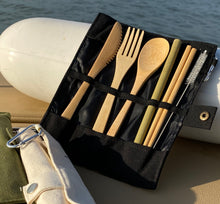 Load image into Gallery viewer, NEW Bamboo Cutlery set with straw and chopsticks