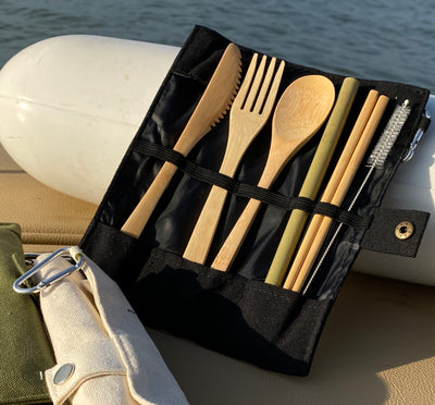 NEW Bamboo Cutlery set with straw and chopsticks
