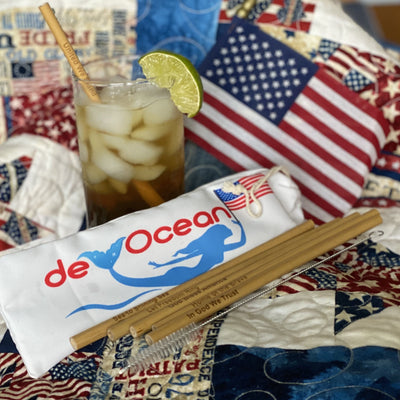 NEW Limited edition Patriotic 6 pack of Bamboo Straws