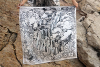 Silk scarf with mythological illustration depicting the death of Adonis, in the sacred waterfall of Afqa Lebanon