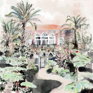 Traditional Lebanese House with Palm Trees - Giclée Print