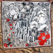 Load image into Gallery viewer, Adonis & Astarte, Afqa Lebanon with Red Flowers - Silk Scarf