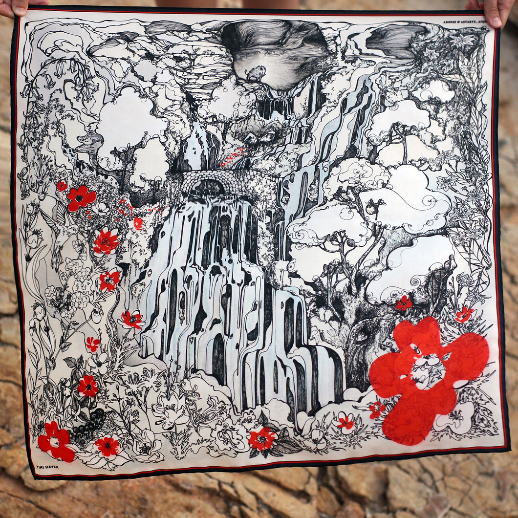Adonis & Astarte, Afqa Lebanon with Red Flowers - Silk Scarf