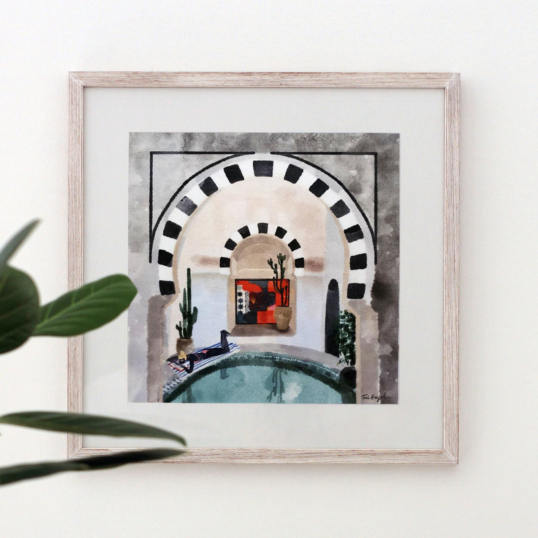 Lounging by the Pool, Tunisia - Giclée Print
