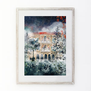 Winter Mist - Traditional Lebanese Mountain House - Giclée Print