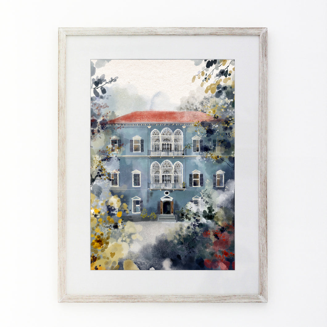 Traditional Blue Lebanese House - Giclée Print